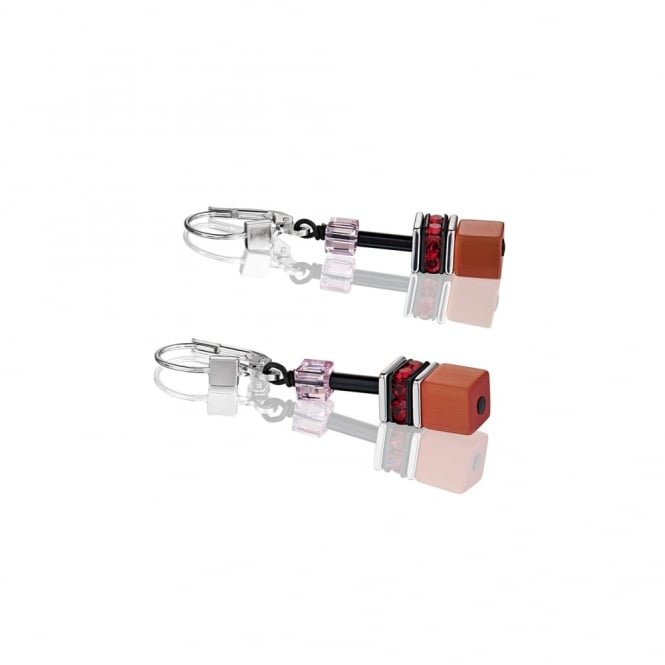 Coeur De Lion Cube Pink and Red Earrings