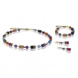 Geo Cube Multicoloured Crystal Jewellery Set