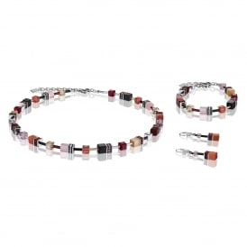 Geo Cube Red Rose Crystal Jewellery Set