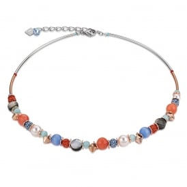 Orange Crystal Pearl Necklace