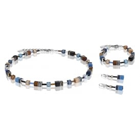 Geo Cube Blue Brown Crystal Jewellery Set