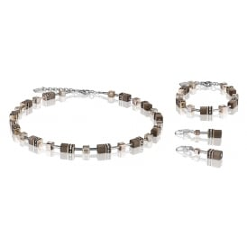 Geo Cube Taupe Crystal Jewellery Set