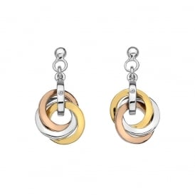 Trio Rose and Yellow Gold Diamond Earrings
