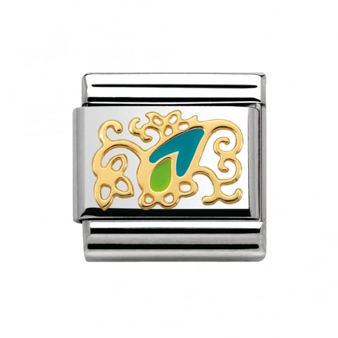 Nomination 18ct Gold Cashmere Blue & Green Charm