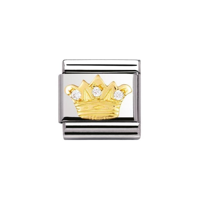 Nomination 18ct Gold CZ White King Crown Charm