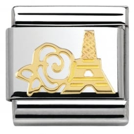 Nomination 18ct Gold Eiffel Tower & Rose Charm