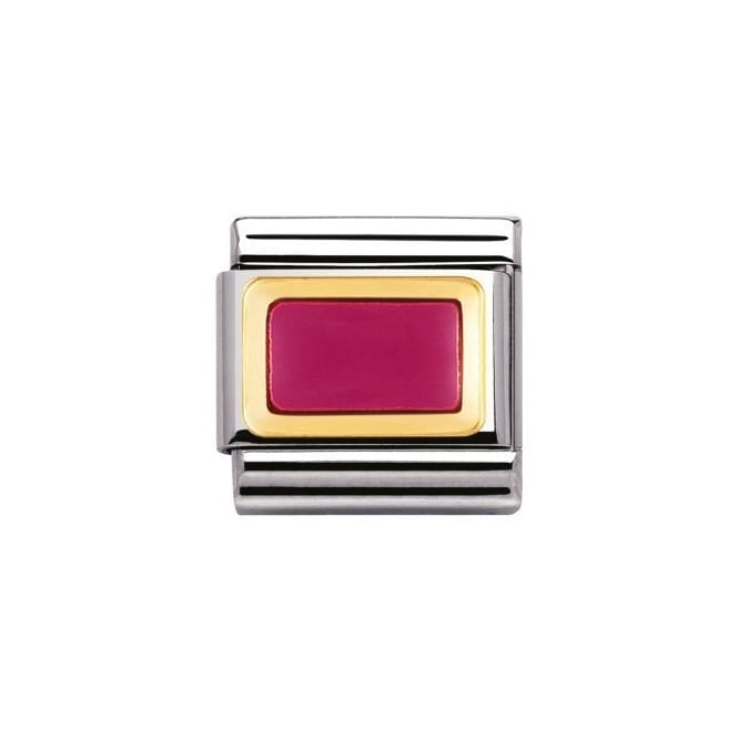 Nomination 18ct Gold Fuchsia Rectangle Charm
