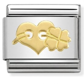 Nomination 18ct Gold Heart & Clover Charm