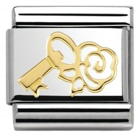 Nomination 18ct Gold Key with Rose Charm