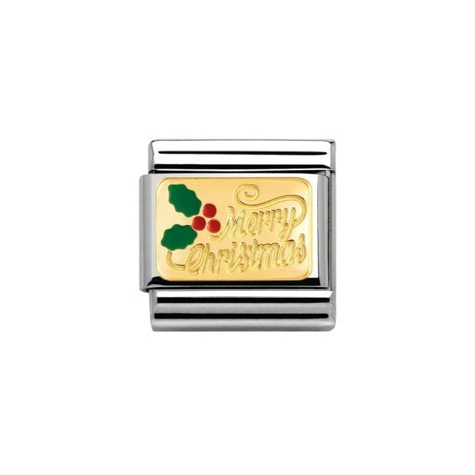 Nomination 18ct Gold Merry Christmas Charm