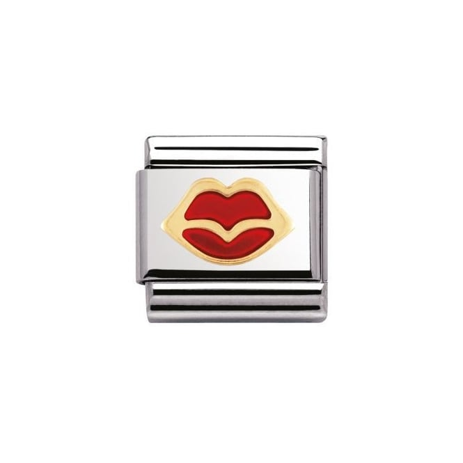 Nomination 18ct Gold Red Lips Charm