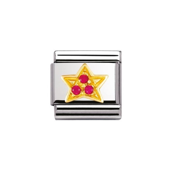 Nomination 18ct Gold Red Star Charm