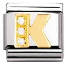 Classic 18ct Gold CZ Letter K Charm