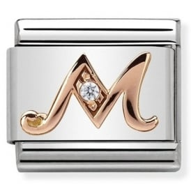 Classic Letter M Rose Gold Charm