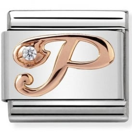 Classic Letter P Rose Gold Charm