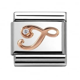Classic Letter T Rose Gold Charm