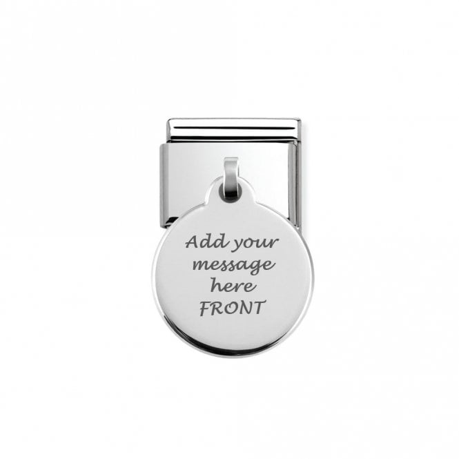 Nomination Classic Silver Dangling Circle Charm Personalised Front & Back 331801/01
