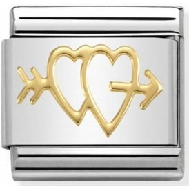 Nomination Gold Double Heart with Arrow Charm