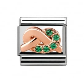Rose Gold CZ Green Knot Charm