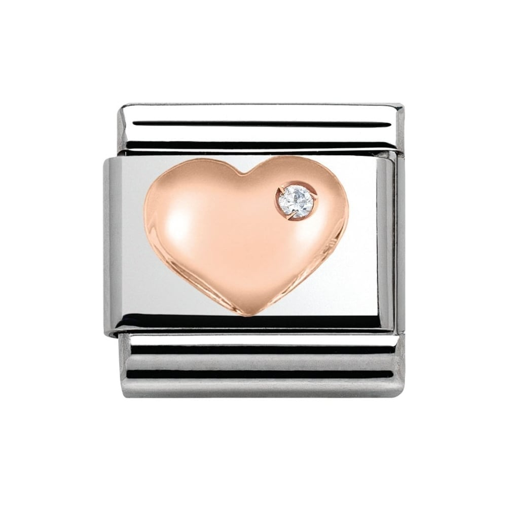 Nomination Rose Gold CZ Raised Heart Charm - Jewellery from 925 ... 74d4964d2b0f