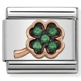 Rose Gold Green Clover Charm