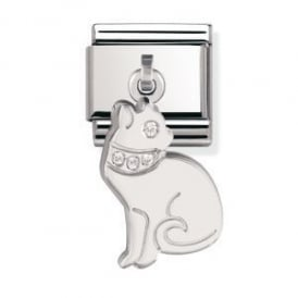 Nomination Silver Dangly Cat Charm