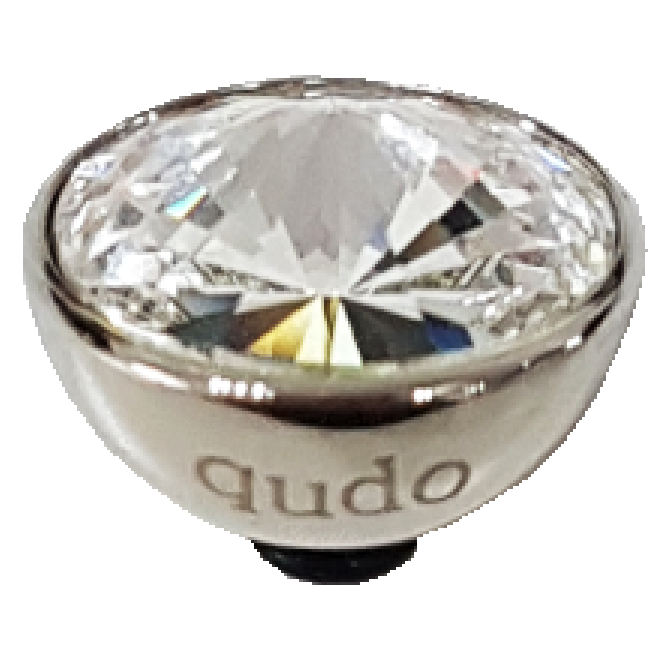 Qudo Famosa Bottone 13mm Crystal Silver Ring Top