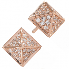 Sif Jakobs Rose Gold-Plated 'Panzano' Cubic Zirconia Pyramid Earrings